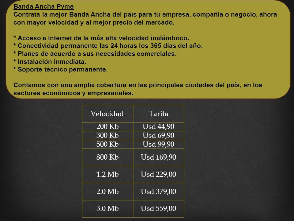 VelocidadTarifa 200 KbUsd 44,90 300 KbUsd 69,90 500 KbUsd 99,90 800 KbUsd 169,90 1.2 MbUsd 229,00 2.0 MbUsd 379,00 3.0 MbUsd 559,00 Banda Ancha Pyme Contrata la mejor Banda Ancha del país para tu empresa, compañía o negocio, ahora con mayor velocidad y al mejor precio del mercado.