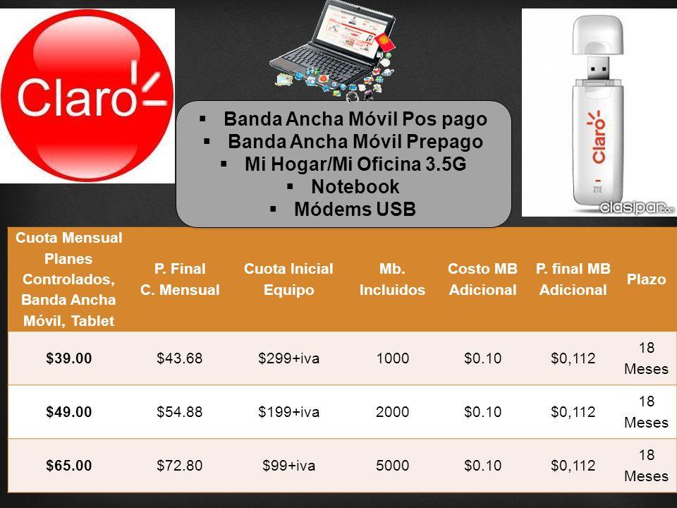 Cuota Mensual Planes Controlados, Banda Ancha Móvil, Tablet P.
