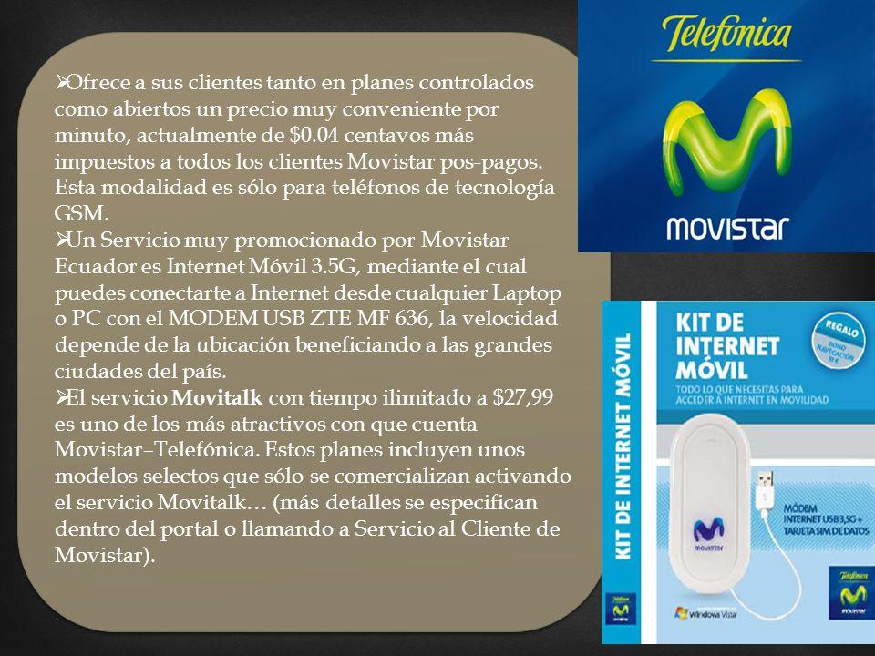Ofrece a sus clientes tanto en planes controlados como abiertos un precio muy conveniente por minuto, actualmente de $0.04 centavos más impuestos a todos los clientes Movistar pos-pagos.