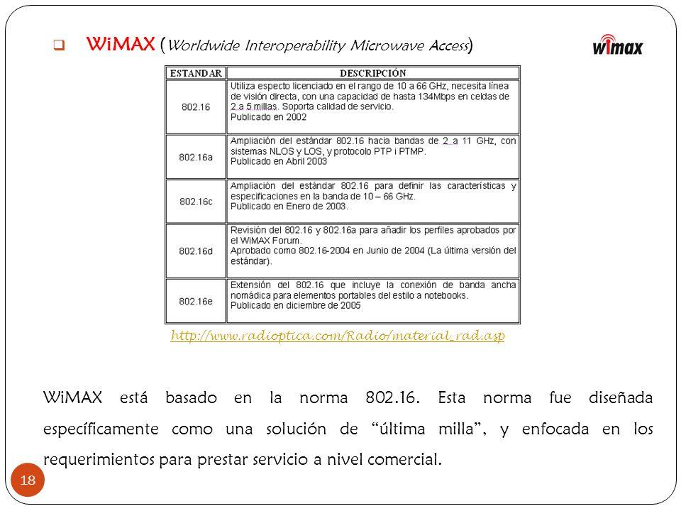 18 WiMAX ( Worldwide Interoperability Microwave Access ) http://www.radioptica.com/Radio/material_rad.asp WiMAX está basado en la norma 802.16. Esta n