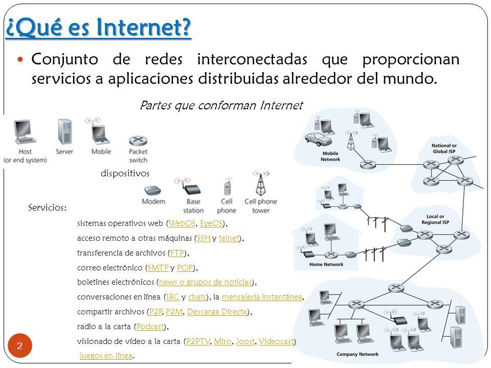 dispositivos ¿Qué es Internet? 2 Conjunto de redes interconectadas que proporcionan servicios a aplicaciones distribuidas alrededor del mundo. Partes