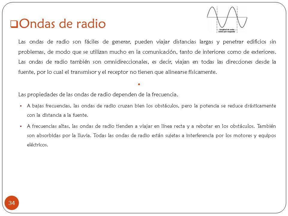 34 Ondas de radio Las ondas de radio son fáciles de generar, pueden viajar distancias largas y penetrar edificios sin problemas, de modo que se utiliz