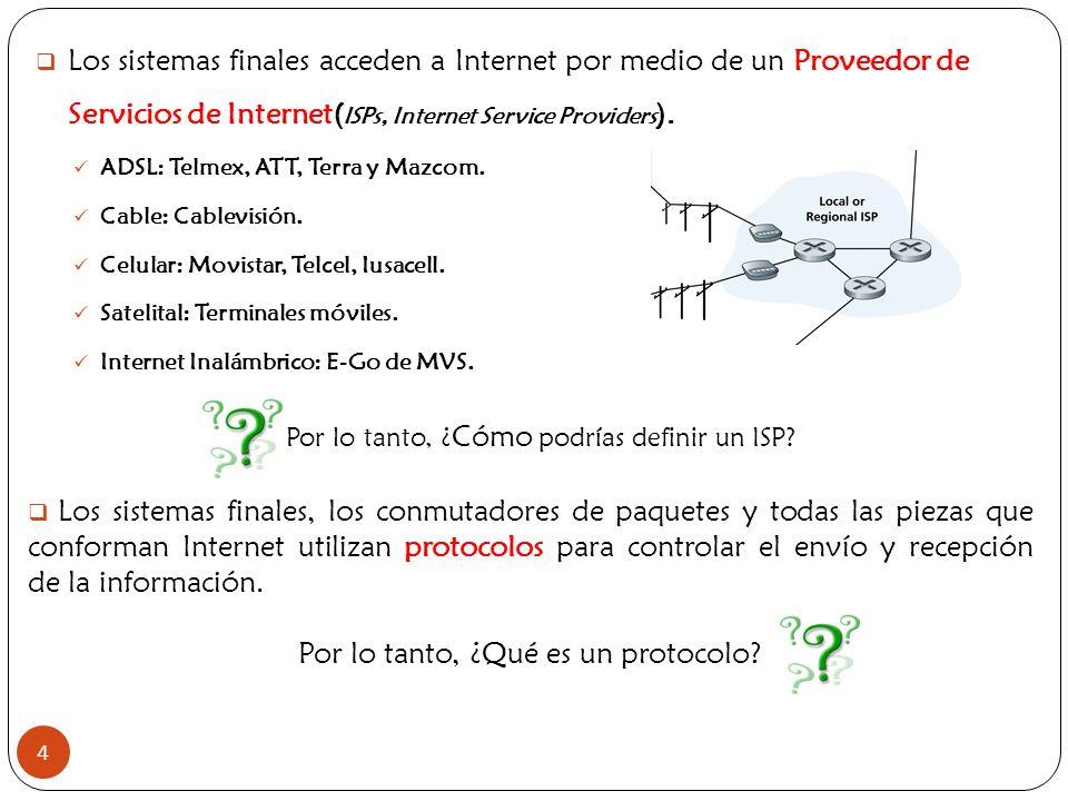 4 Los sistemas finales acceden a Internet por medio de un Proveedor de Servicios de Internet( ISPs, Internet Service Providers ). ADSL: Telmex, ATT, T
