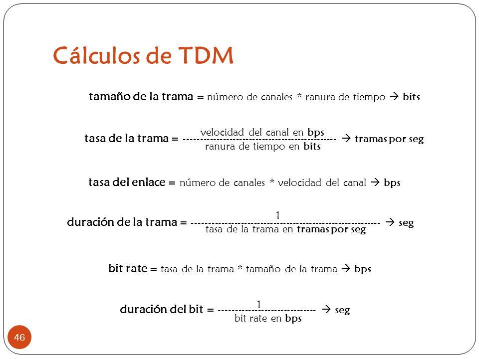 Cálculos de TDM 46 tamaño de la trama = número de canales * ranura de tiempo bits bit rate = tasa de la trama * tamaño de la trama bps velocidad del c