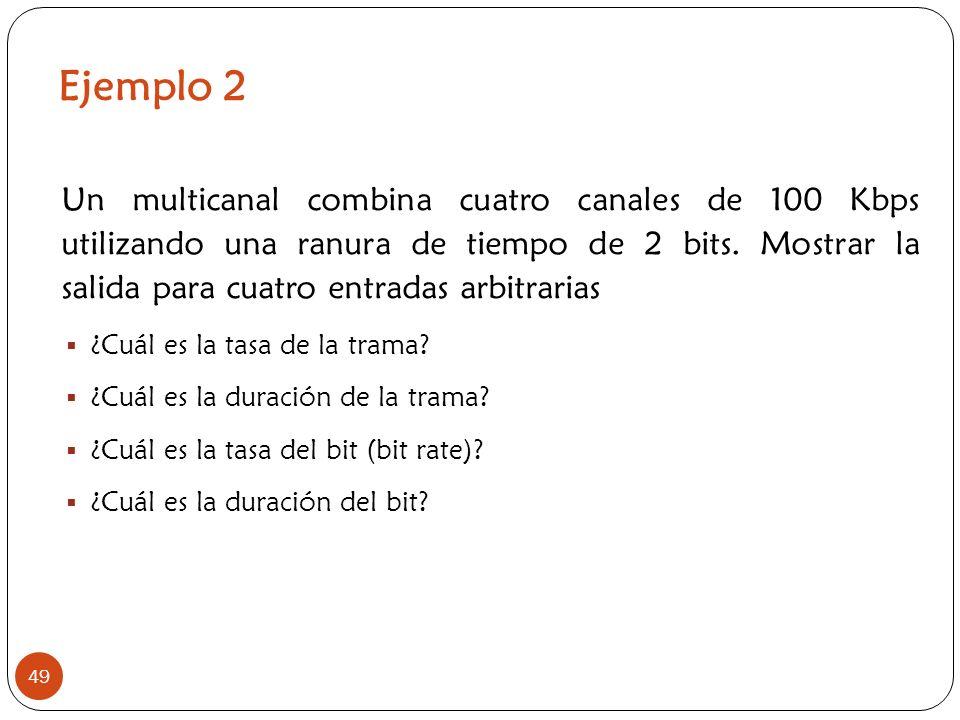Ejemplo 2 49 Un multicanal combina cuatro canales de 100 Kbps utilizando una ranura de tiempo de 2 bits. Mostrar la salida para cuatro entradas arbitr