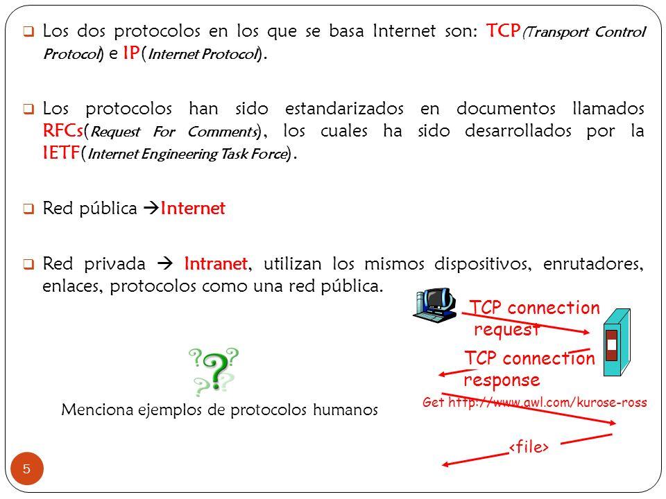 5 Los dos protocolos en los que se basa Internet son: TCP (Transport Control Protocol ) e IP( Internet Protocol ). Los protocolos han sido estandariza
