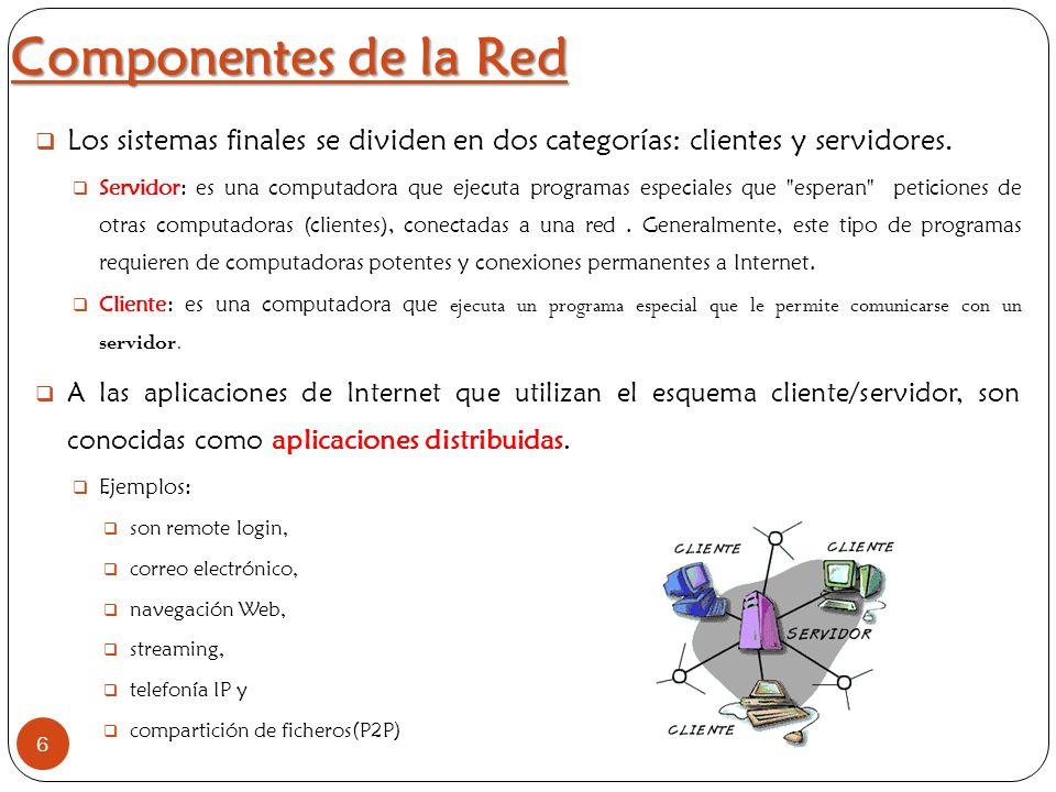 Componentes de la Red 6 Los sistemas finales se dividen en dos categorías: clientes y servidores. Servidor: es una computadora que ejecuta programas e