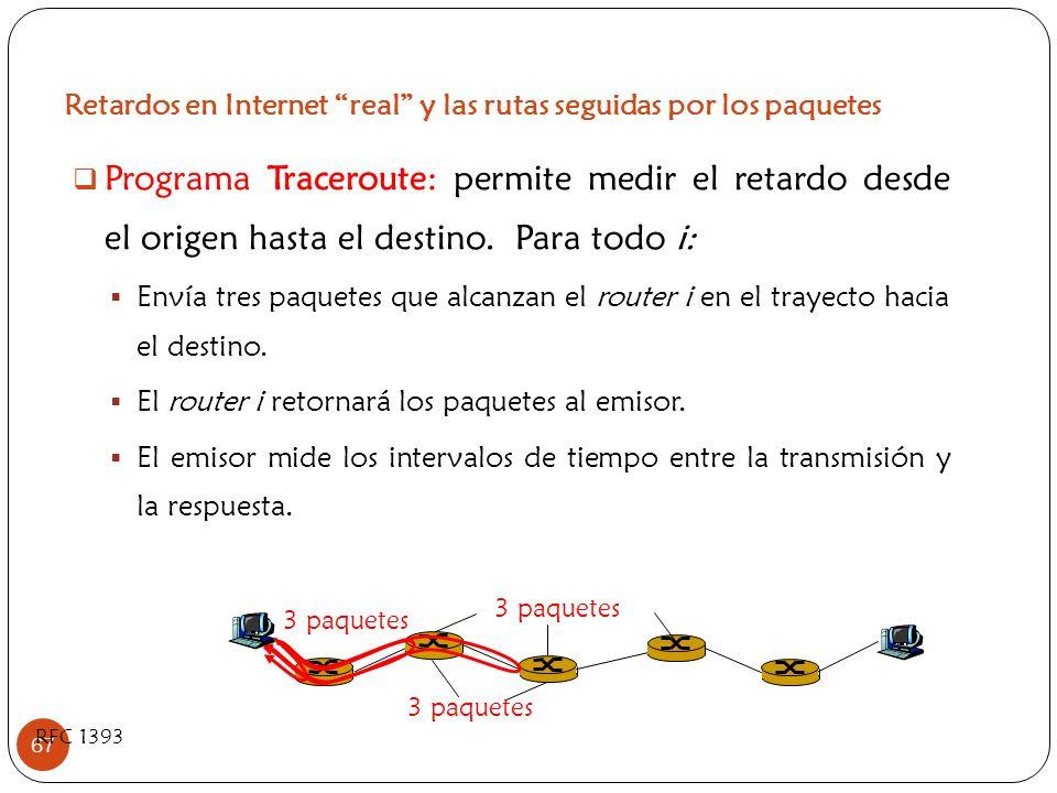 Retardos en Internet real y las rutas seguidas por los paquetes 67 Programa Traceroute: permite medir el retardo desde el origen hasta el destino. Par