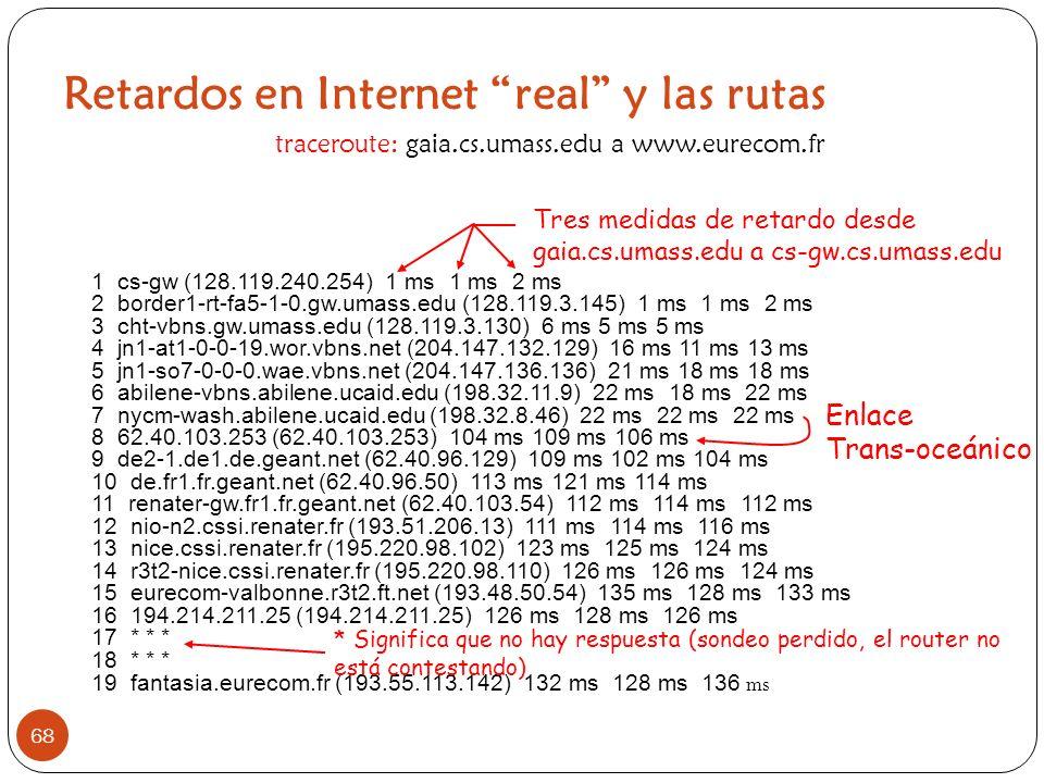 Retardos en Internet real y las rutas 68 1 cs-gw (128.119.240.254) 1 ms 1 ms 2 ms 2 border1-rt-fa5-1-0.gw.umass.edu (128.119.3.145) 1 ms 1 ms 2 ms 3 c