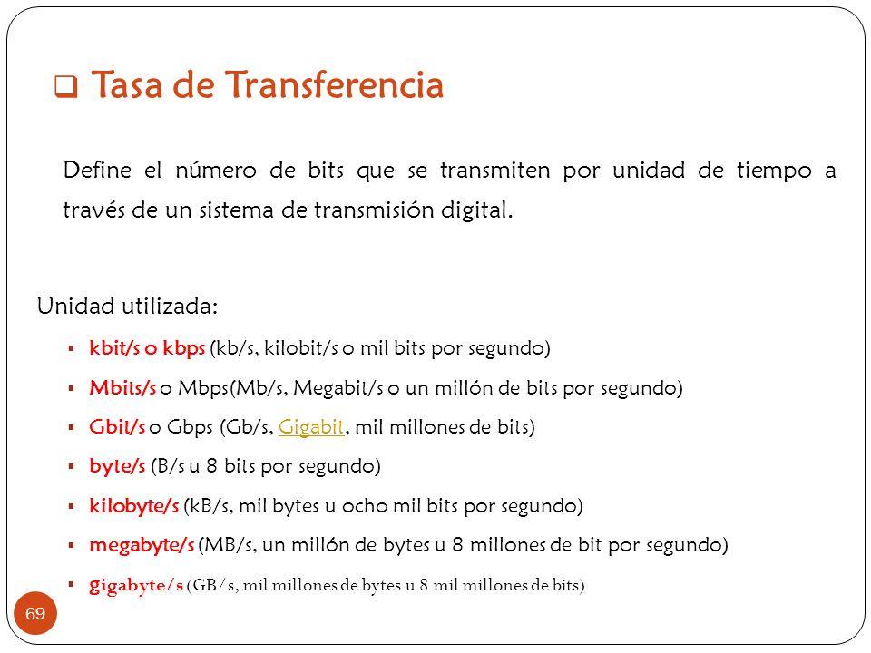Tasa de Transferencia 69 Define el número de bits que se transmiten por unidad de tiempo a través de un sistema de transmisión digital. Unidad utiliza