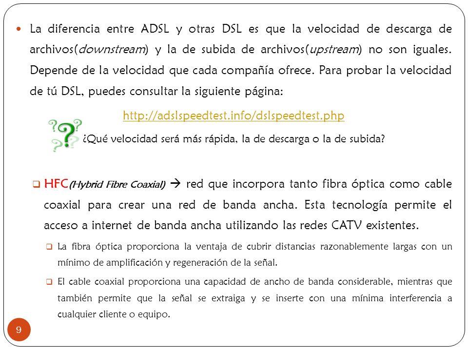 9 La diferencia entre ADSL y otras DSL es que la velocidad de descarga de archivos(downstream) y la de subida de archivos(upstream) no son iguales. De