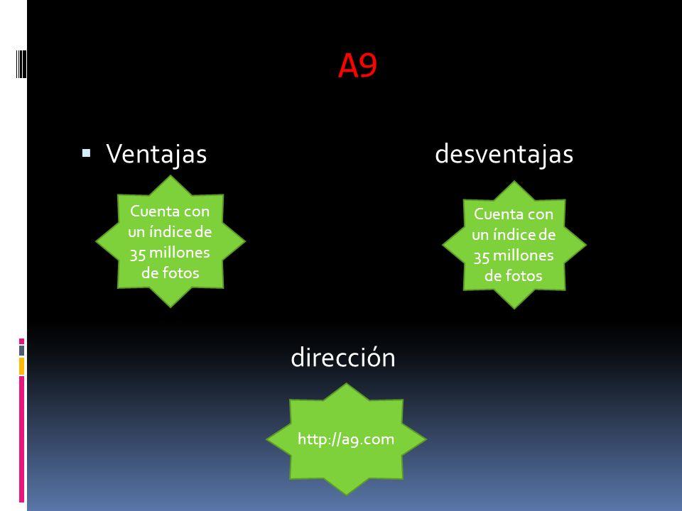 A9 Ventajas desventajas dirección Cuenta con un índice de 35 millones de fotos http://a9.com