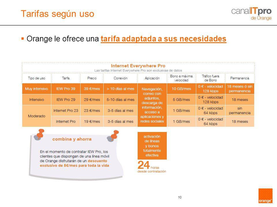10 Orange le ofrece una tarifa adaptada a sus necesidades Tarifas según uso