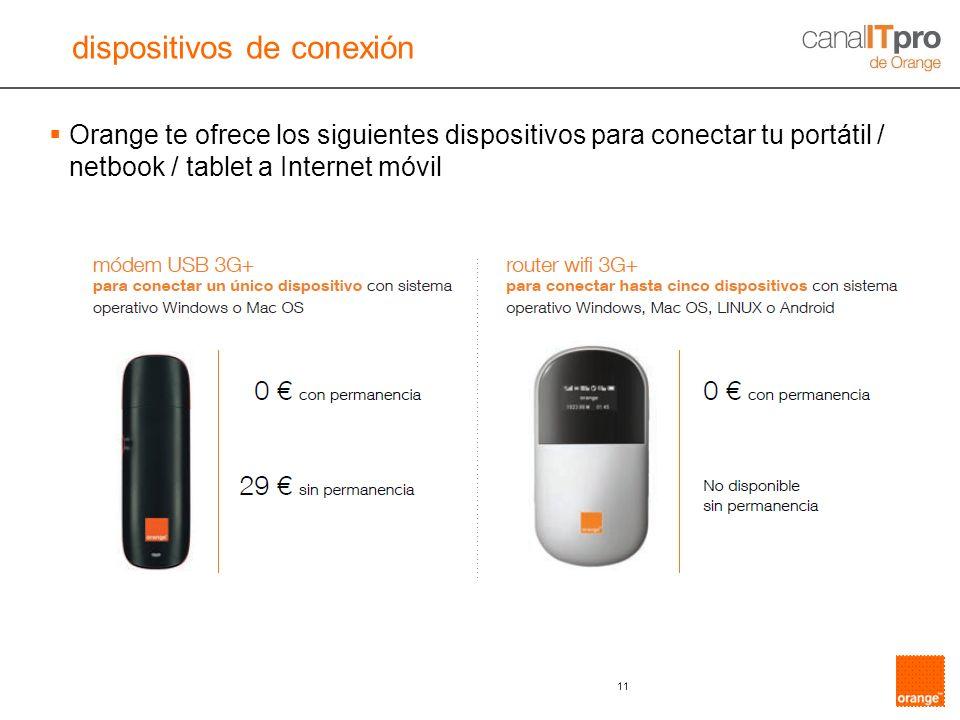 11 Orange te ofrece los siguientes dispositivos para conectar tu portátil / netbook / tablet a Internet móvil dispositivos de conexión