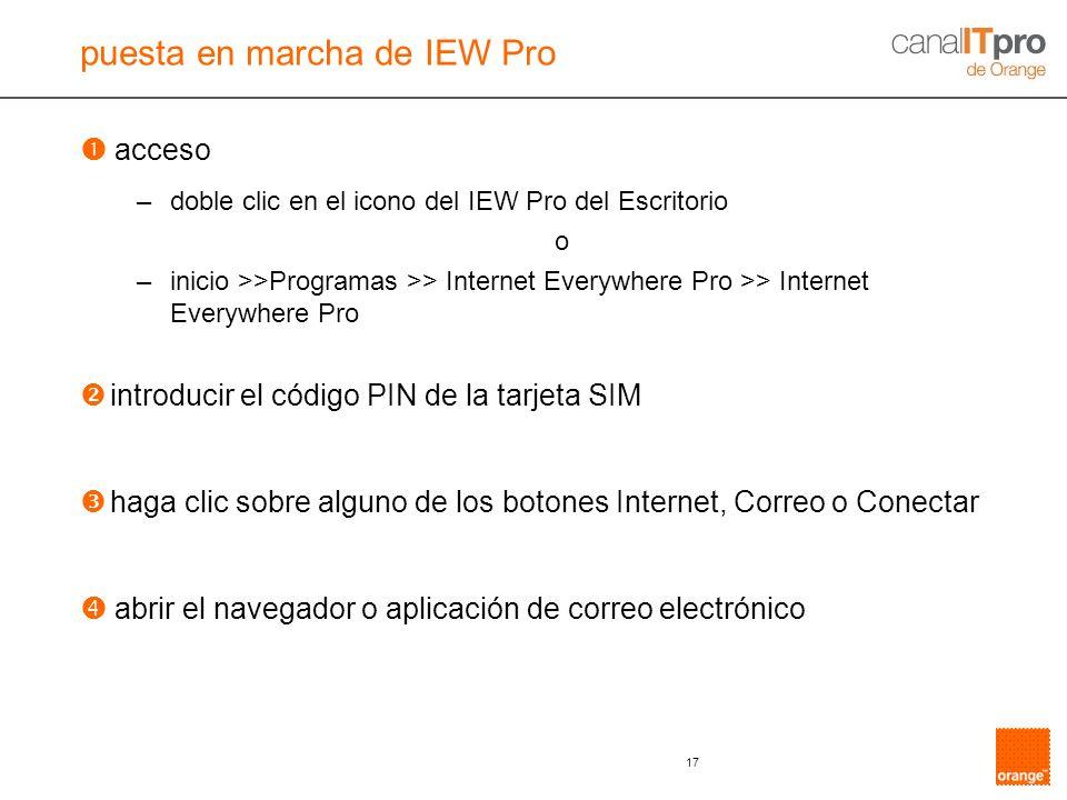 17 acceso –doble clic en el icono del IEW Pro del Escritorio o –inicio >>Programas >> Internet Everywhere Pro >> Internet Everywhere Pro introducir el