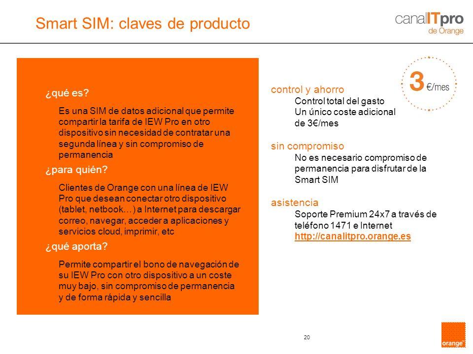 20 ¿qué es? Es una SIM de datos adicional que permite compartir la tarifa de IEW Pro en otro dispositivo sin necesidad de contratar una segunda línea
