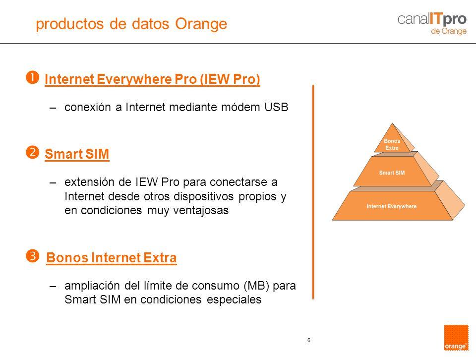 6 Internet Everywhere Pro (IEW Pro) –conexión a Internet mediante módem USB Smart SIM –extensión de IEW Pro para conectarse a Internet desde otros dis