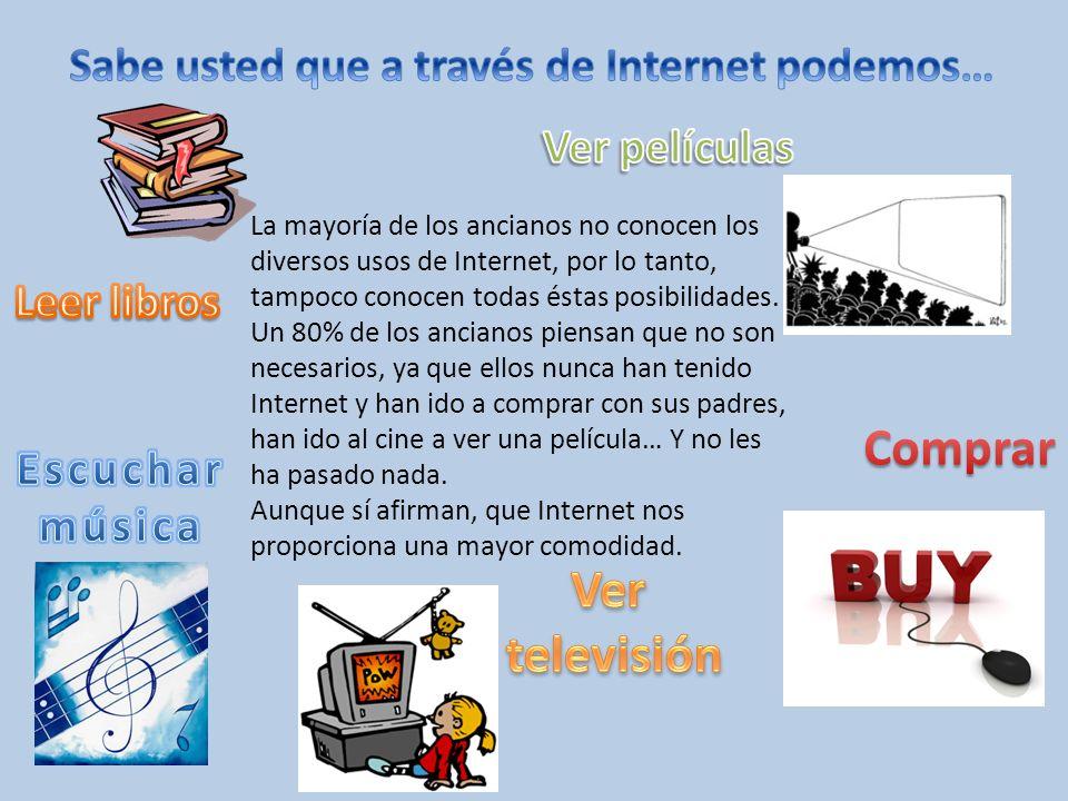 La mayoría de los ancianos no conocen los diversos usos de Internet, por lo tanto, tampoco conocen todas éstas posibilidades. Un 80% de los ancianos p