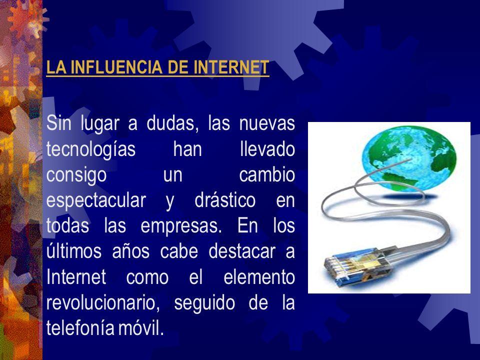 LA INFLUENCIA DE INTERNET Sin lugar a dudas, las nuevas tecnologías han llevado consigo un cambio espectacular y drástico en todas las empresas. En lo
