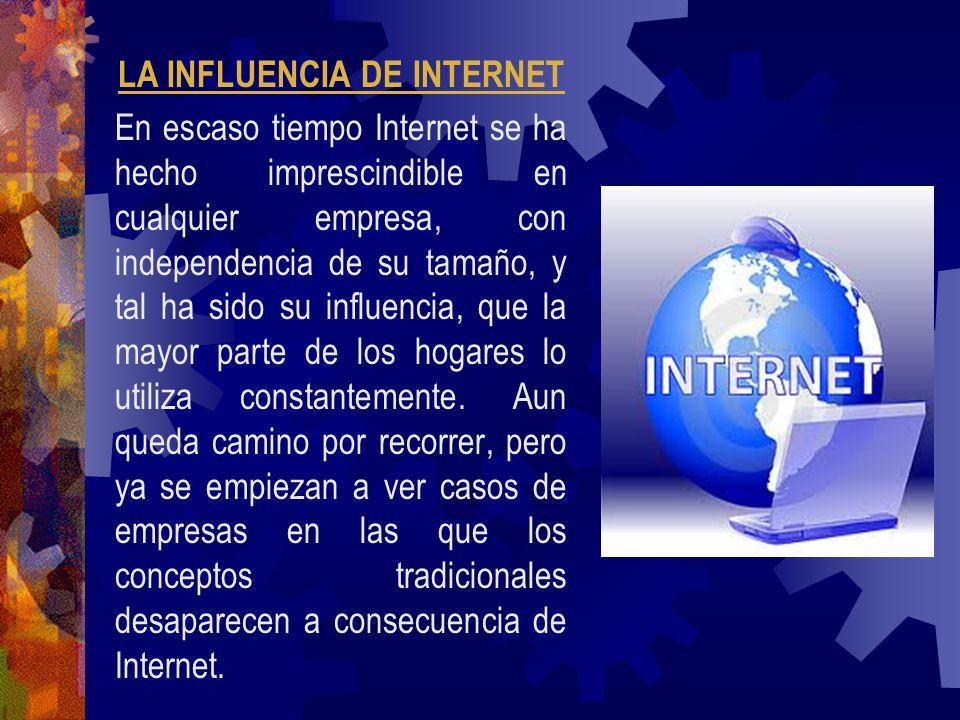 LA INFLUENCIA DE INTERNET En escaso tiempo Internet se ha hecho imprescindible en cualquier empresa, con independencia de su tamaño, y tal ha sido su