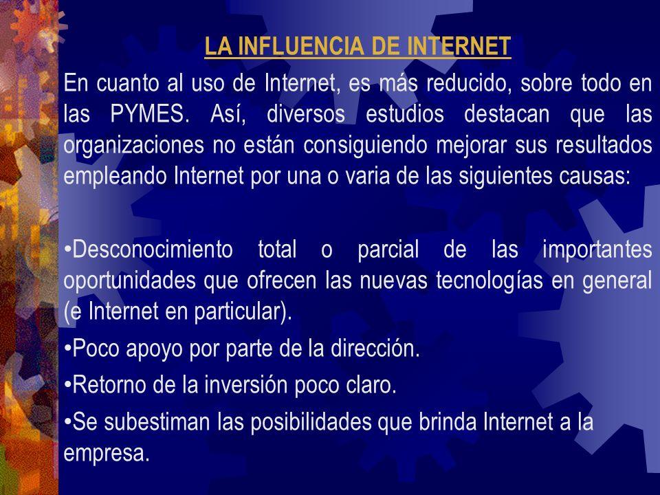 LA INFLUENCIA DE INTERNET En cuanto al uso de Internet, es más reducido, sobre todo en las PYMES. Así, diversos estudios destacan que las organizacion