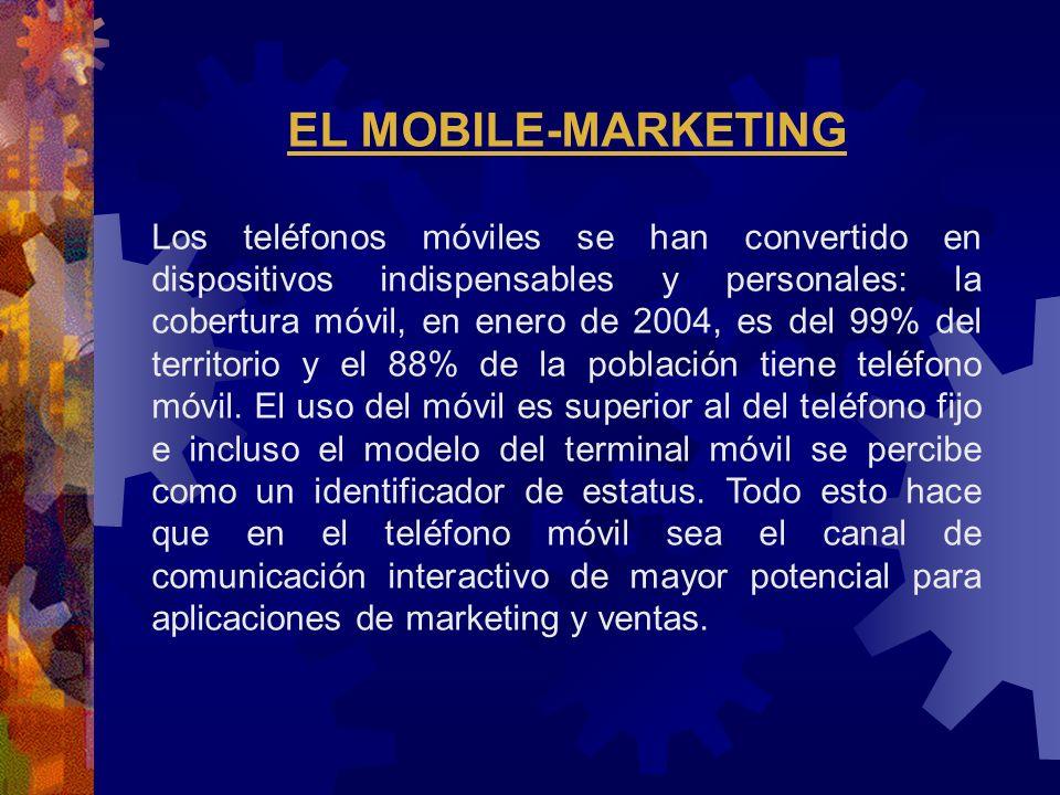 EL MOBILE-MARKETING Los teléfonos móviles se han convertido en dispositivos indispensables y personales: la cobertura móvil, en enero de 2004, es del