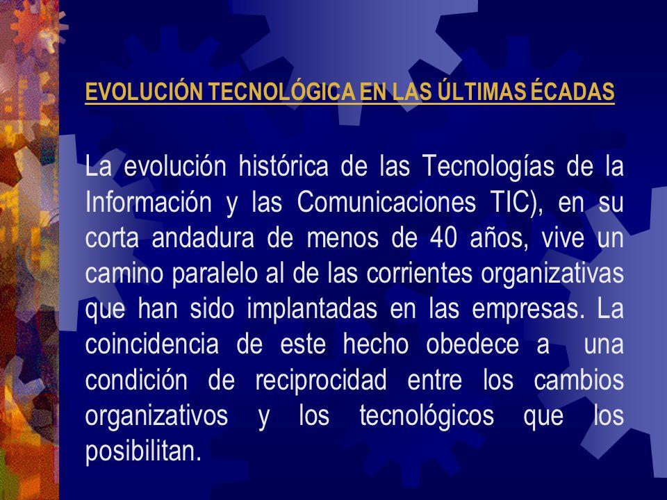 EVOLUCIÓN TECNOLÓGICA EN LAS ÚLTIMAS ÉCADAS La evolución histórica de las Tecnologías de la Información y las Comunicaciones TIC), en su corta andadur