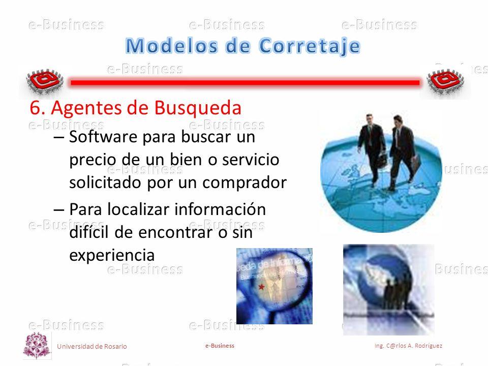 Universidad de Rosario e-BusinessIng. C@rlos A. Rodríguez 6. Agentes de Busqueda – Software para buscar un precio de un bien o servicio solicitado por
