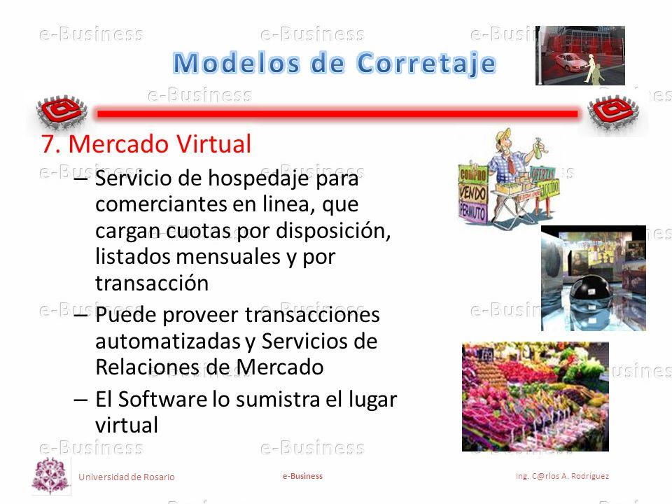 Universidad de Rosario e-BusinessIng. C@rlos A. Rodríguez 7. Mercado Virtual – Servicio de hospedaje para comerciantes en linea, que cargan cuotas por