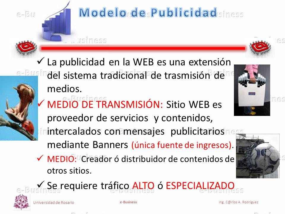 Universidad de Rosario e-BusinessIng. C@rlos A. Rodríguez La publicidad en la WEB es una extensión del sistema tradicional de trasmisión de medios. ME