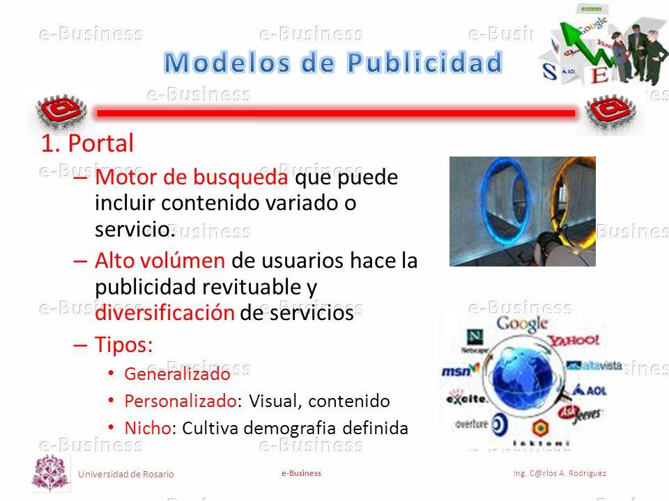 Universidad de Rosario e-BusinessIng. C@rlos A. Rodríguez 1. Portal – Motor de busqueda que puede incluir contenido variado o servicio. – Alto volúmen