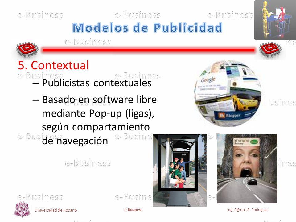 Universidad de Rosario e-BusinessIng. C@rlos A. Rodríguez 5. Contextual – Publicistas contextuales – Basado en software libre mediante Pop-up (ligas),