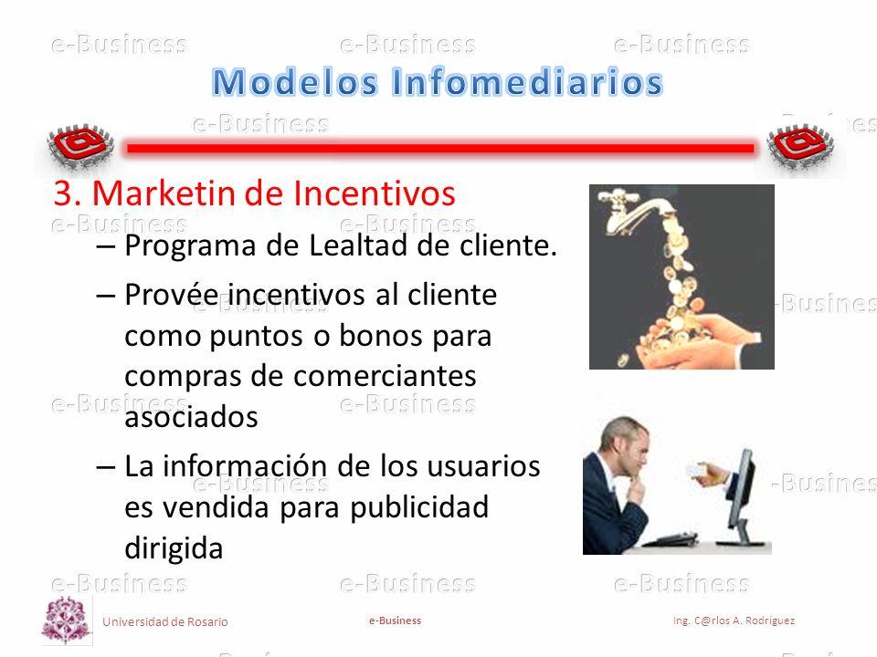 Universidad de Rosario e-BusinessIng. C@rlos A. Rodríguez 3. Marketin de Incentivos – Programa de Lealtad de cliente. – Provée incentivos al cliente c