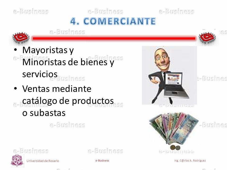Universidad de Rosario e-BusinessIng. C@rlos A. Rodríguez Mayoristas y Minoristas de bienes y servicios Ventas mediante catálogo de productos o subast