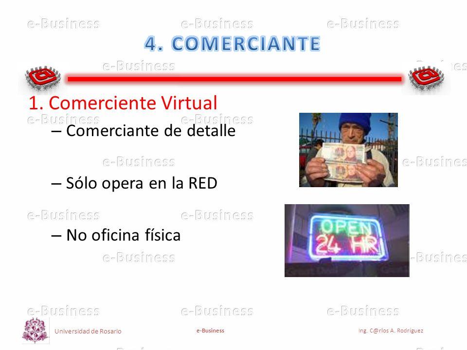 Universidad de Rosario e-BusinessIng. C@rlos A. Rodríguez 1. Comerciente Virtual – Comerciante de detalle – Sólo opera en la RED – No oficina física