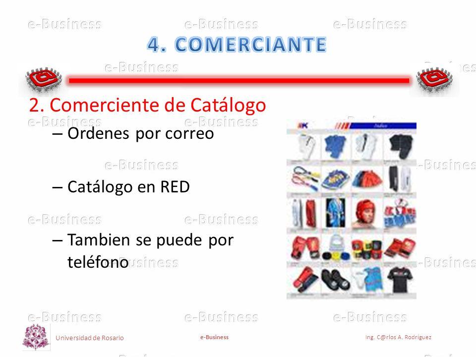 Universidad de Rosario e-BusinessIng. C@rlos A. Rodríguez 2. Comerciente de Catálogo – Ordenes por correo – Catálogo en RED – Tambien se puede por tel