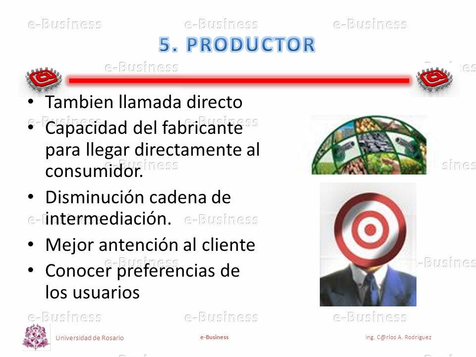Universidad de Rosario e-BusinessIng. C@rlos A. Rodríguez Tambien llamada directo Capacidad del fabricante para llegar directamente al consumidor. Dis