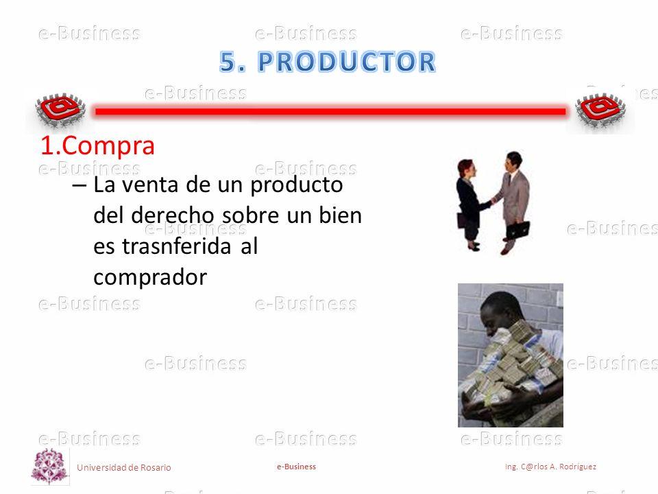 Universidad de Rosario e-BusinessIng. C@rlos A. Rodríguez 1.Compra – La venta de un producto del derecho sobre un bien es trasnferida al comprador