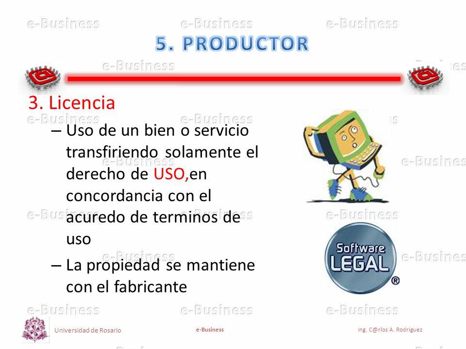 Universidad de Rosario e-BusinessIng. C@rlos A. Rodríguez 3. Licencia – Uso de un bien o servicio transfiriendo solamente el derecho de USO,en concord