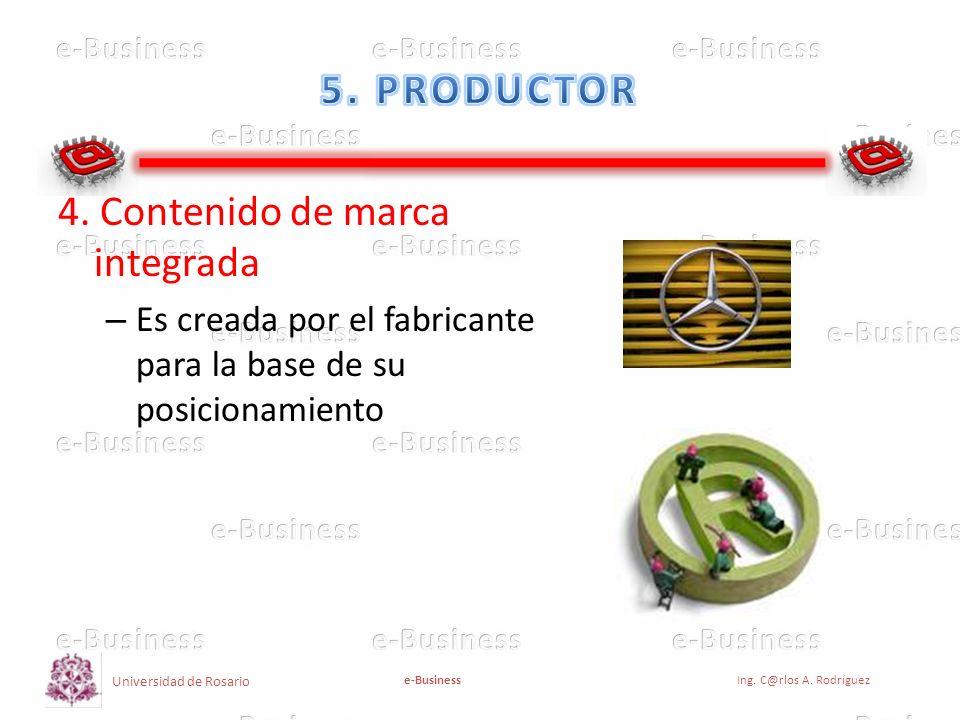 Universidad de Rosario e-BusinessIng. C@rlos A. Rodríguez 4. Contenido de marca integrada – Es creada por el fabricante para la base de su posicionami