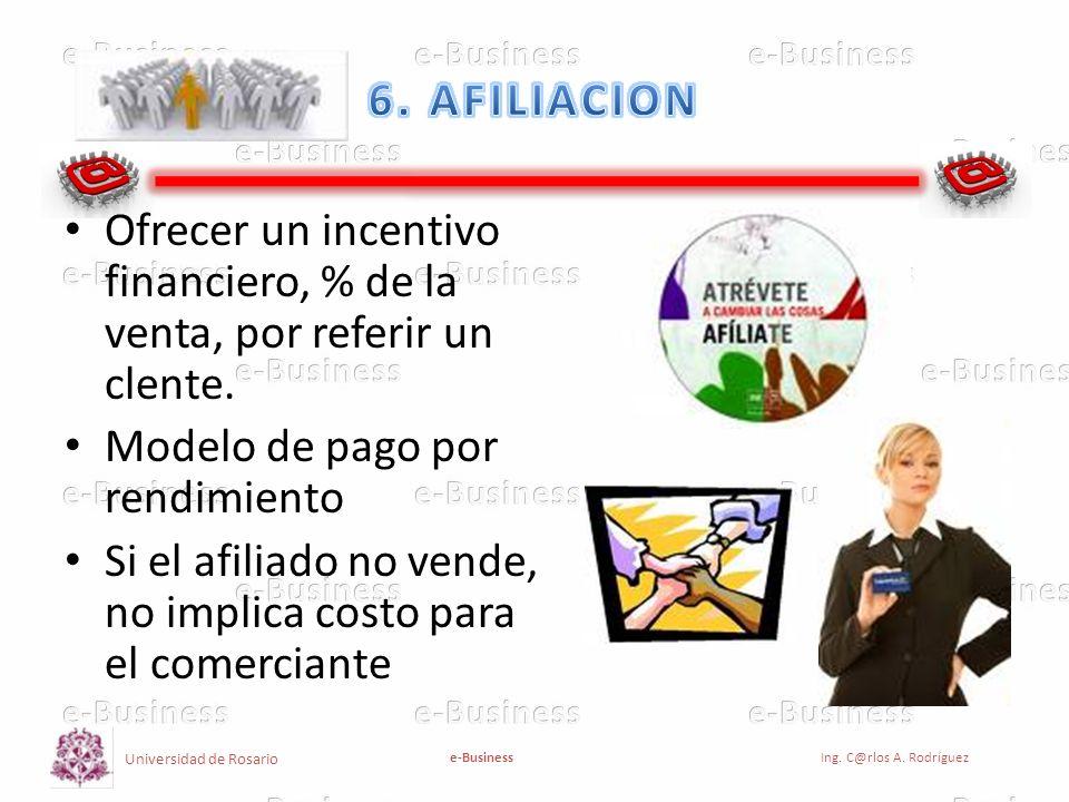 Universidad de Rosario e-BusinessIng. C@rlos A. Rodríguez Ofrecer un incentivo financiero, % de la venta, por referir un clente. Modelo de pago por re