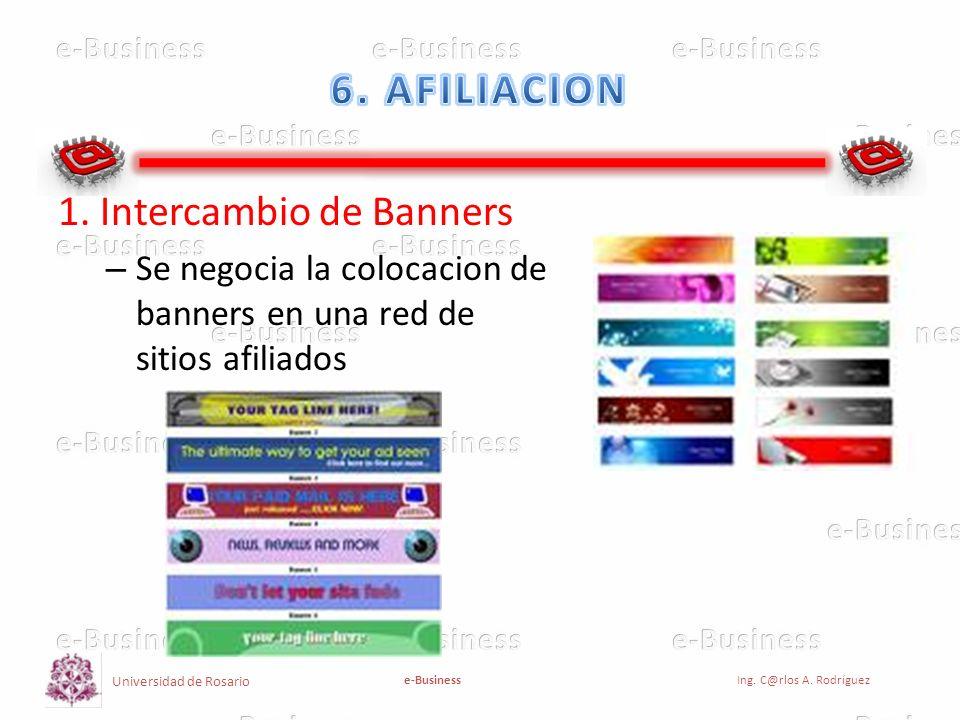 Universidad de Rosario e-BusinessIng. C@rlos A. Rodríguez 1. Intercambio de Banners – Se negocia la colocacion de banners en una red de sitios afiliad