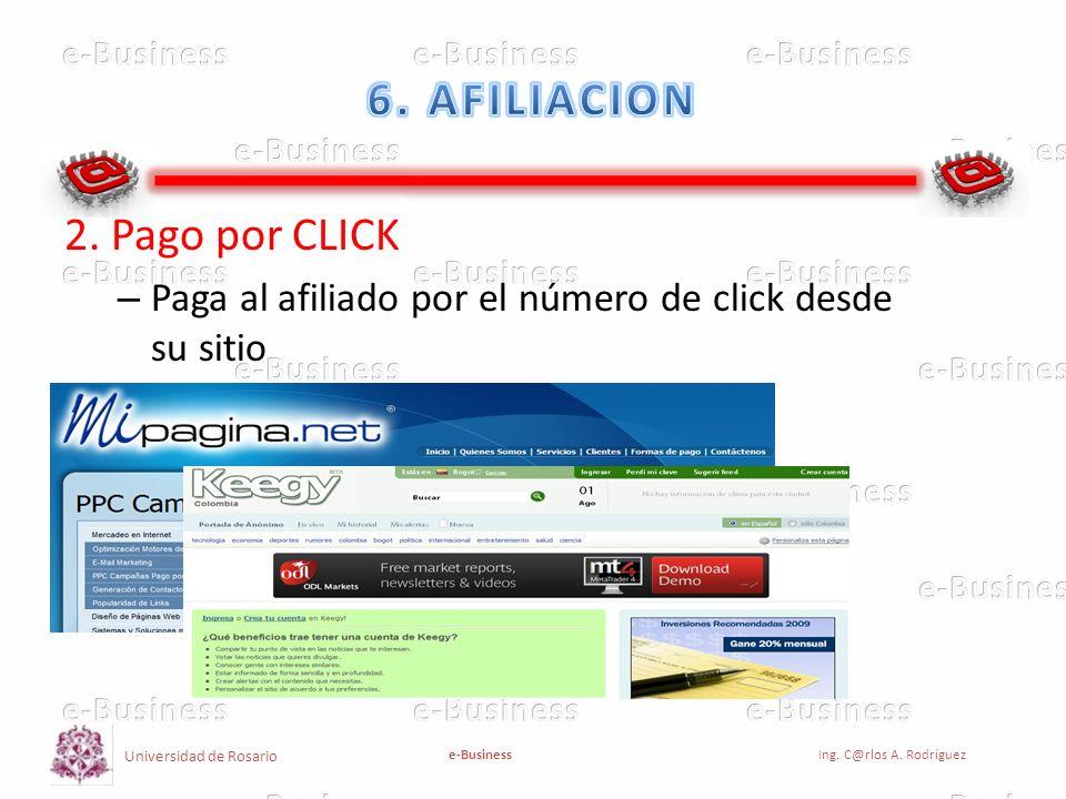 Universidad de Rosario e-BusinessIng. C@rlos A. Rodríguez 2. Pago por CLICK – Paga al afiliado por el número de click desde su sitio