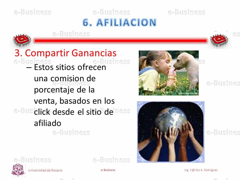 Universidad de Rosario e-BusinessIng. C@rlos A. Rodríguez 3. Compartir Ganancias – Estos sitios ofrecen una comision de porcentaje de la venta, basado