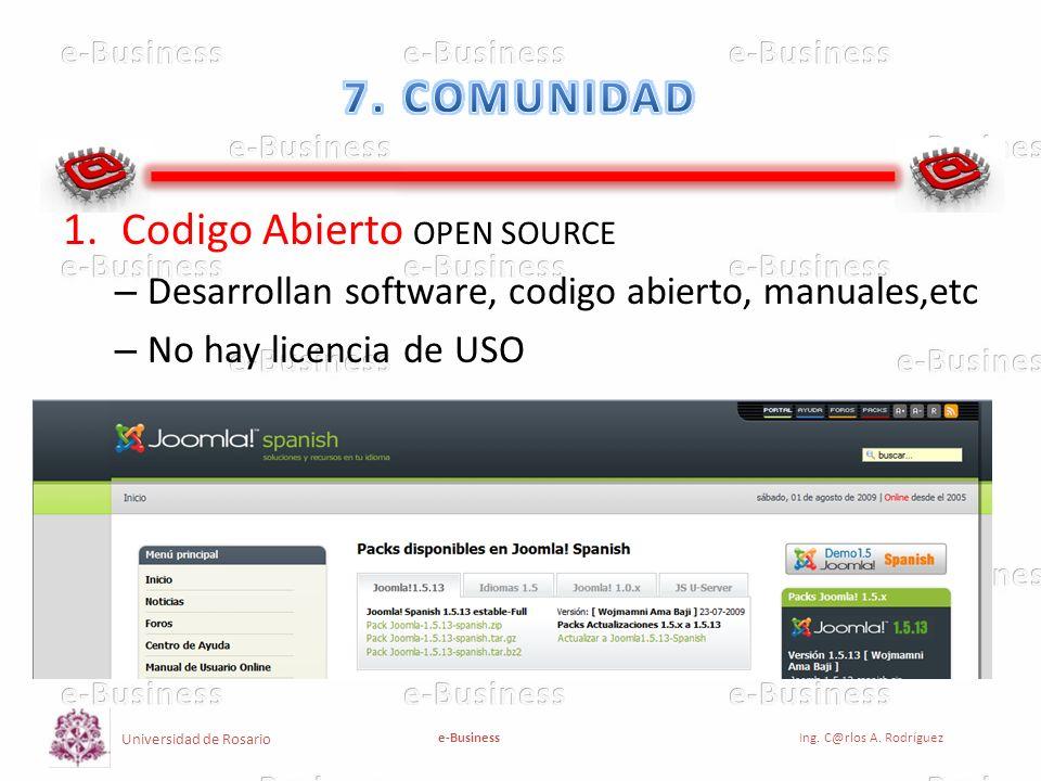 Universidad de Rosario e-BusinessIng. C@rlos A. Rodríguez 1.Codigo Abierto OPEN SOURCE – Desarrollan software, codigo abierto, manuales,etc – No hay l