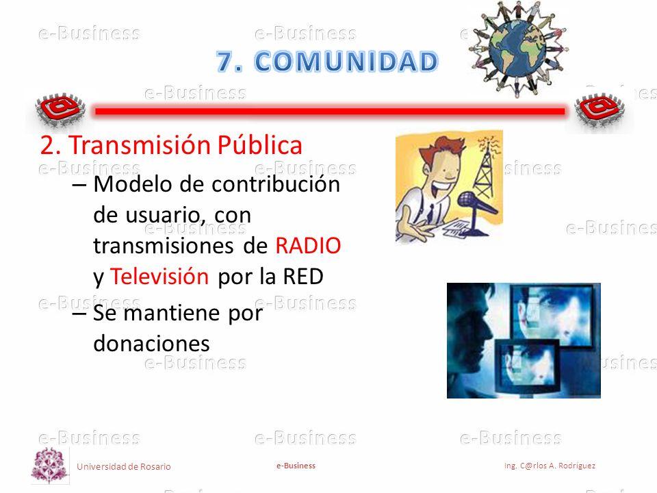 Universidad de Rosario e-BusinessIng. C@rlos A. Rodríguez 2. Transmisión Pública – Modelo de contribución de usuario, con transmisiones de RADIO y Tel
