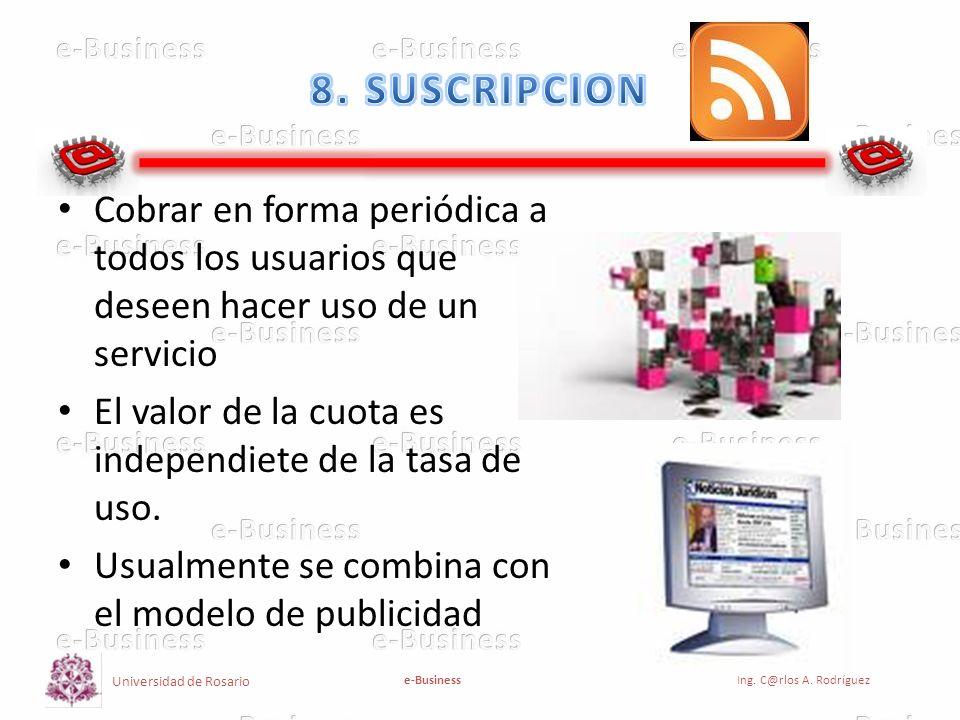 Universidad de Rosario e-BusinessIng. C@rlos A. Rodríguez Cobrar en forma periódica a todos los usuarios que deseen hacer uso de un servicio El valor