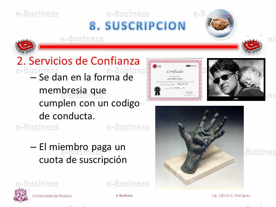 Universidad de Rosario e-BusinessIng. C@rlos A. Rodríguez 2. Servicios de Confianza – Se dan en la forma de membresia que cumplen con un codigo de con