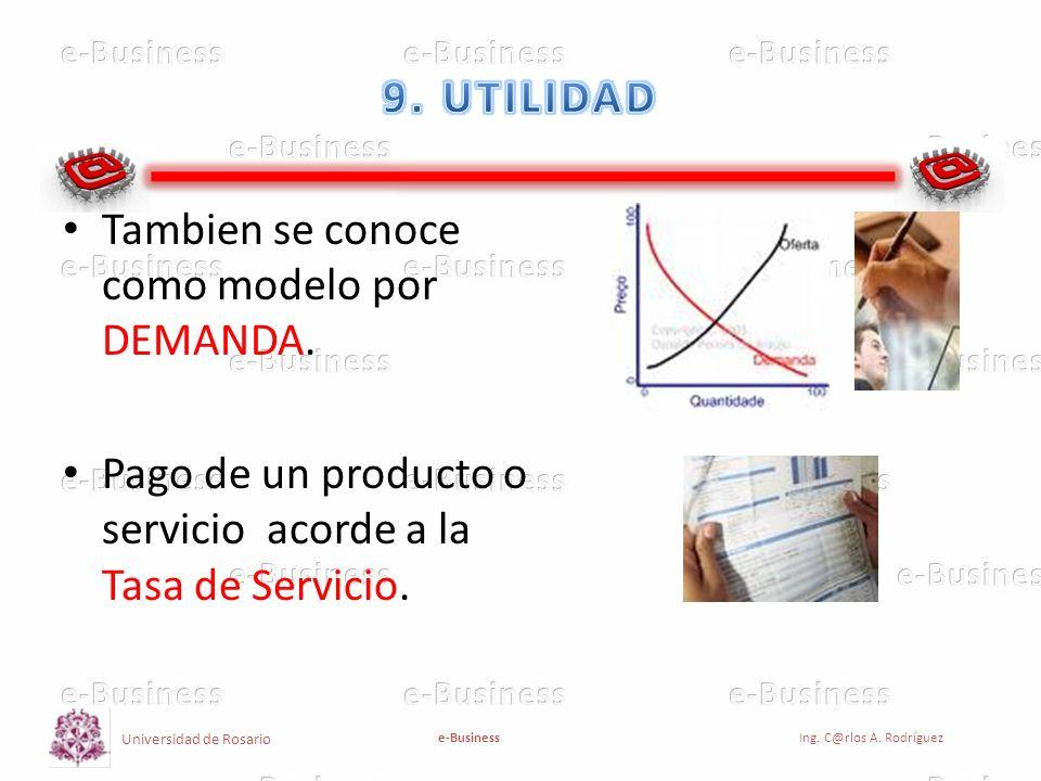 Universidad de Rosario e-BusinessIng. C@rlos A. Rodríguez Tambien se conoce como modelo por DEMANDA. Pago de un producto o servicio acorde a la Tasa d