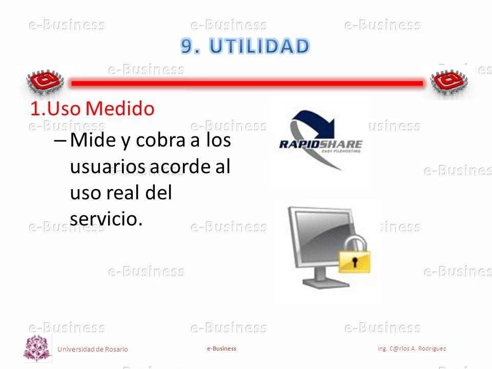 Universidad de Rosario e-BusinessIng. C@rlos A. Rodríguez 1.Uso Medido – Mide y cobra a los usuarios acorde al uso real del servicio.